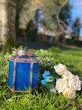 BLUE GLASS MORROCCAN LANTERN