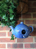 BLUE CERAMIC TEAPOT BIRDHOUSE