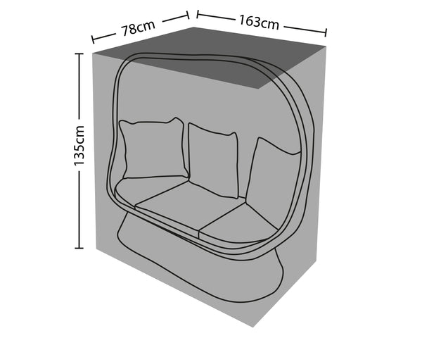 Outdoor Cover For Double Cocoon Chair- Mail Order Packaging -78x163x135cm