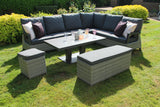 Hazel 7 pieces Corner Lounge Dining Set with Bench and Ottoman and Adjustable Table - Grey