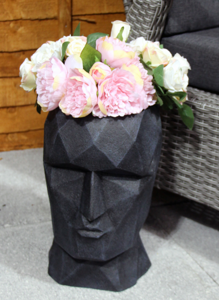 Fibre Clay Ornamental Head Pot - Black Washed