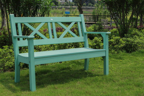 Winawood Maywick 2 Seater Wood Effect Garden Bench - Duck Egg Green