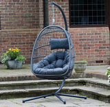 Holly Single Hanging Chair - Charcoal/Grey - Folding Flat & Easy Storage! ***Free Outdoor Cover Included***