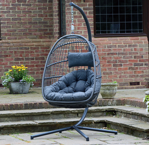 Holly Single Hanging Chair - Charcoal/Grey - Folding Flat & Easy Storage!