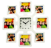 PLASTIC PHOTO FRAME CLOCK - WHITE