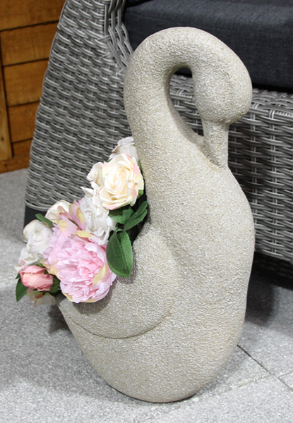 Fibre Clay Ornamental Swan Pot - Beige