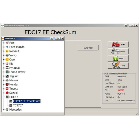 UHDS - EC0001 EDC17+MED17 Calculator Check Summ Data Flash (EEPROM)
