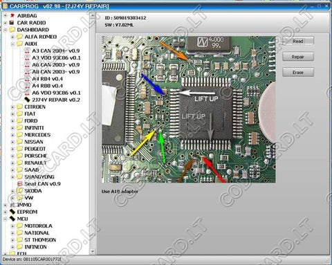 CarProg repair software for Audi 2J74Y processors