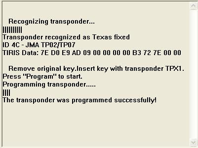 Software module 64 – Key copier for 4C Texas fixed keys onto JMA TPX1 or CN1 transponder