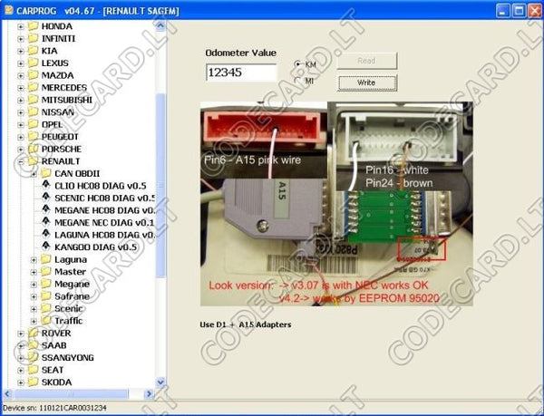 By Dashboard Connector Programming With Nec For Renault