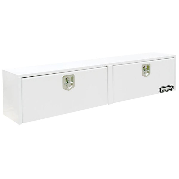 "Buyers Products White Topside Steel Truck Tool Box with 2 doors and  2 T-Handle Latches #1702850 16""H  x 13""D  x 88""W"