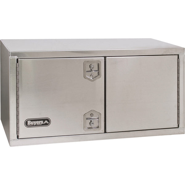 "Buyers Products Double Barn Door Style Underbody Aluminum Truck Tool Box with 2 T-Handle Latches #1705345 24""H x 24""D x 60""W"