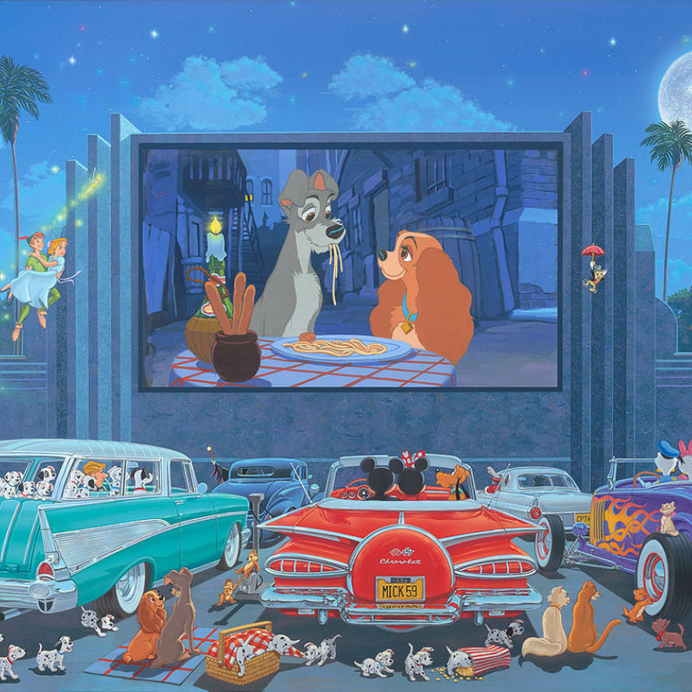 A variety of Disney characters watching Lady and the Tramp on a big outdoor cinema screen.