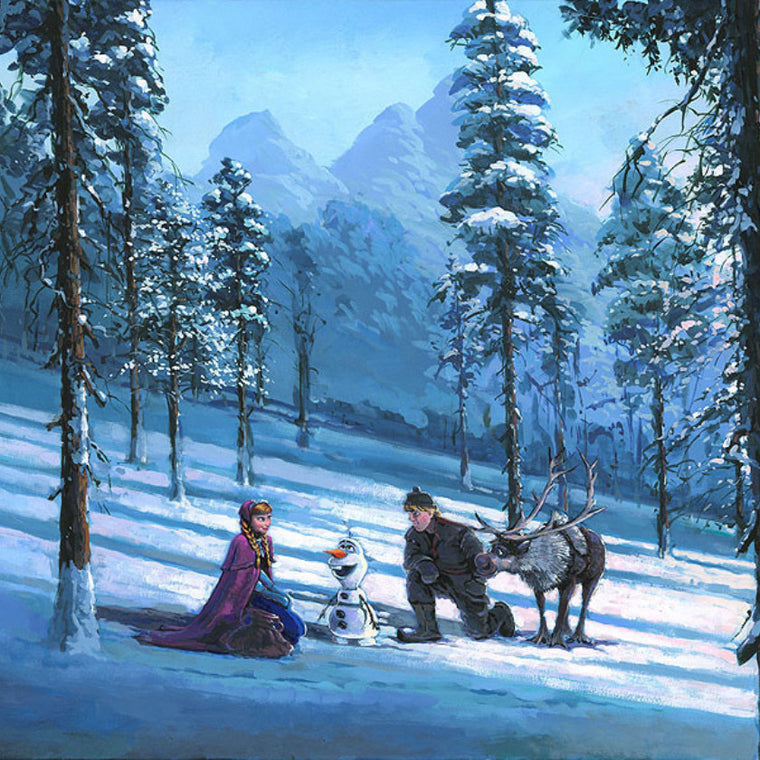 Anna, Christoph, Sven and Olaf in the snow as they search for Elsa