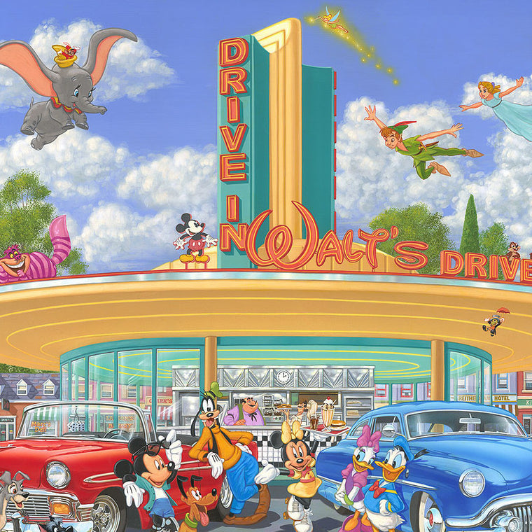 A variety of Disney characters at Walt's Drive-In