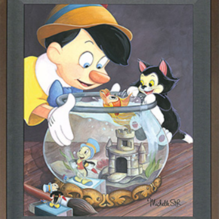Cleo kisses Pinocchio as Jiminy Cricket and Figaro look into the fish bowl