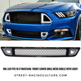 DRL LED Fits 15-17 Mustang  Front Lower Grill Mesh Grille With Light