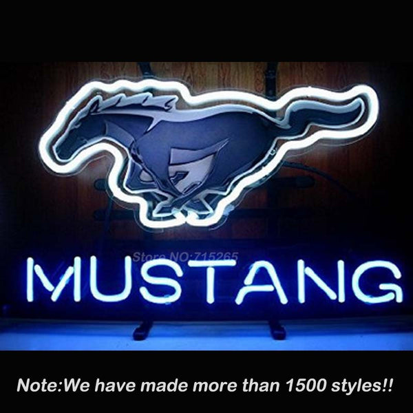 New Horse Garage Neon Sign Mustang Neon Bulbs Store Display Glass Tube