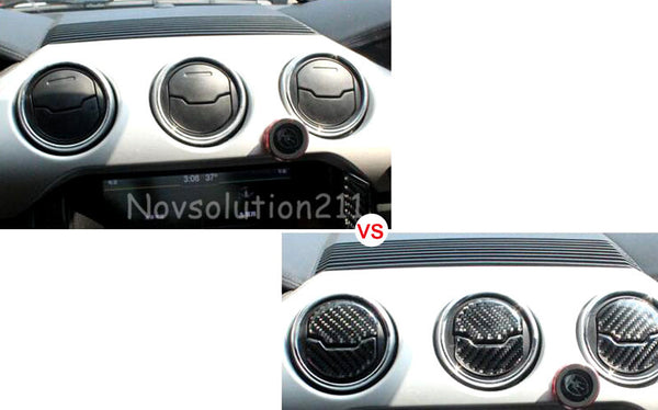 Real Carbon Fiber 6pcs Interior Outlet Air Cover Trim For Ford Mustang 2015 2016