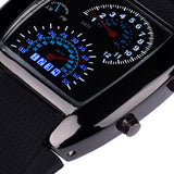 Turbo Dial Flash LED Watch Stainless steel Dress Wristwatches