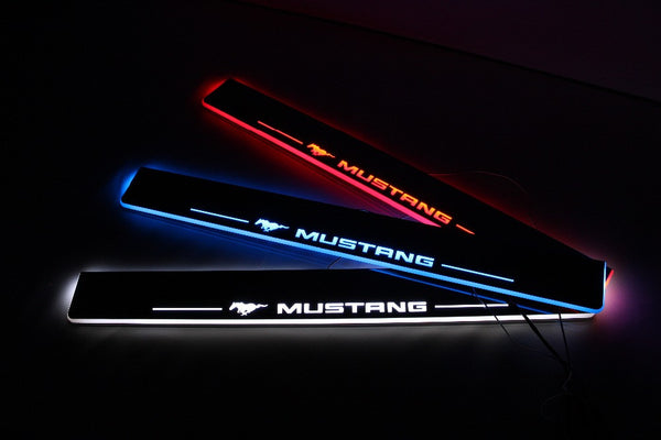 LED door sill for ford mustang 2015-17, Led moving door scuff plate, Pathway light