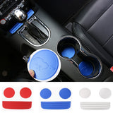 Newest Cup Holder Anti-Slip Mat Interior Trims Aluminum For Ford Mustang 2015 16 17 Up Free Shipping