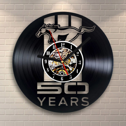 1Piece Mustang Design Vinyl Record Wall Clock
