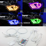 RGB 7-Color LED Angel Eye Halo Rings For 2015-up Ford Mustang Headlight Projectors