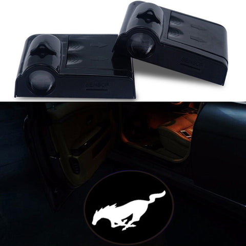 Mustang Logo  Emblems  Door Sensor Lights No Drill Led Laser
