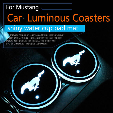2Pcs/set For Ford Mustang Logo badge Car Led