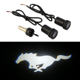 White Mustang Pony LED Courtesy Lamps Door Projectors For Ford Mustang