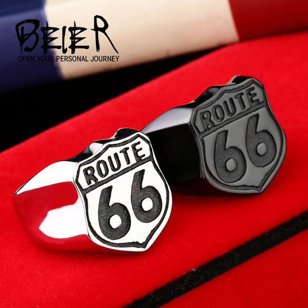 Stainless Steel ring high quality USA Biker Road ROUTE 66 Ring For Men