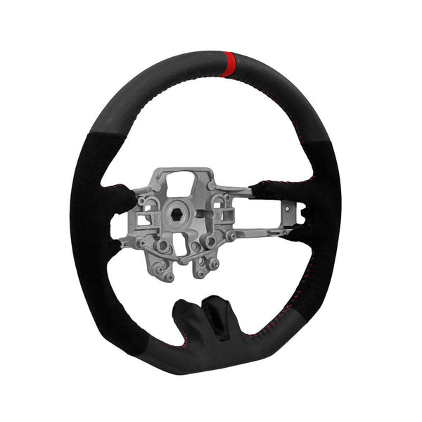 Mustang Steering Wheel Black Leather And Alcantara With Red Stitching