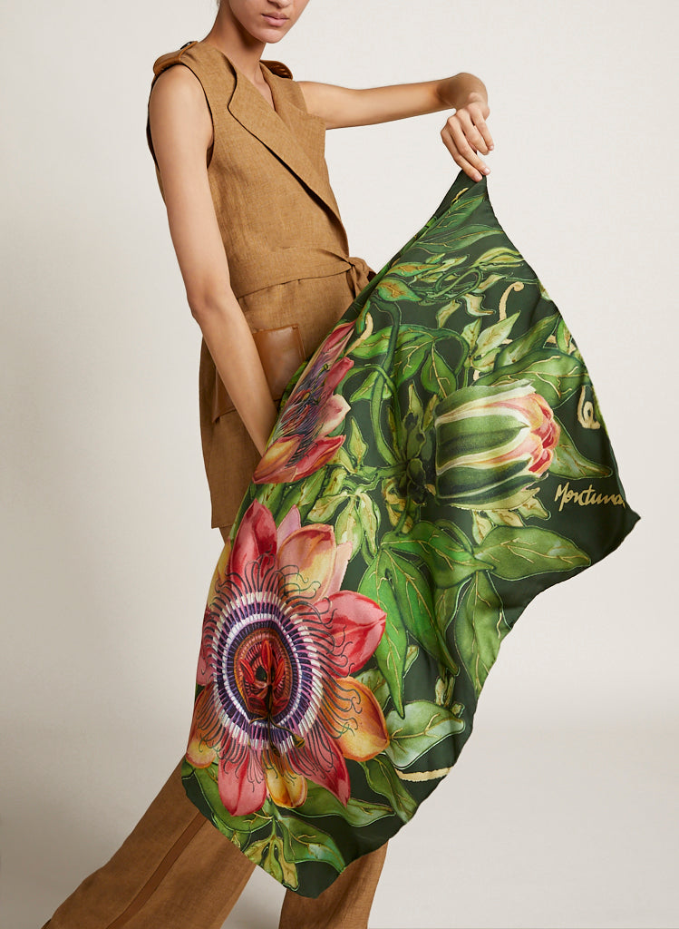 Forest Passiflora Silk Scarf