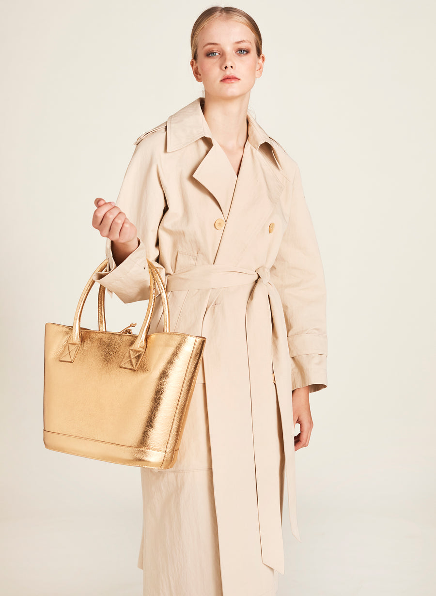 Classic Picnic Tote in Gold with Montunas Rainforest Lining