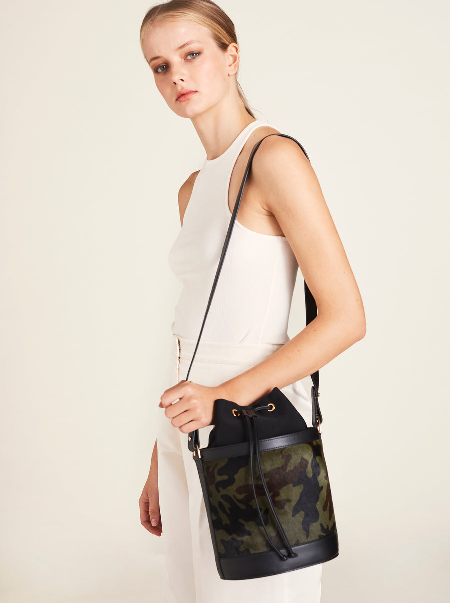 Bucket Bag in Camo Calf Hair