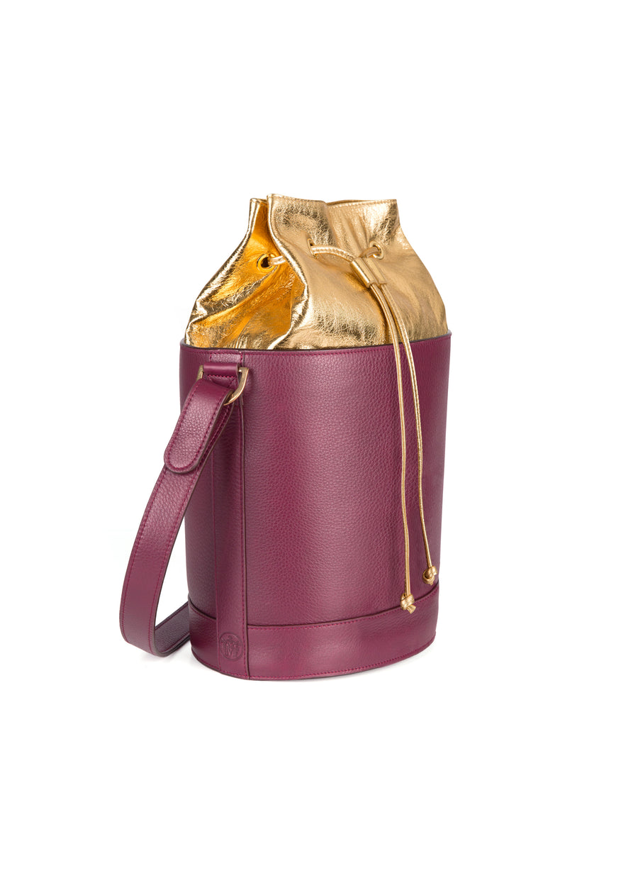 Bucket Bag in Burgundy and Gold