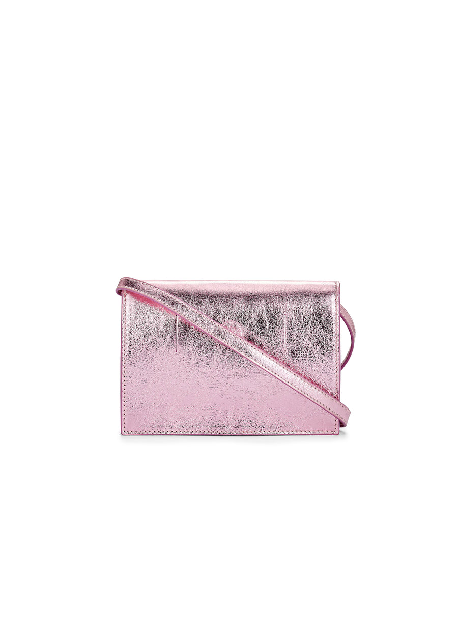 Convertible Belt Bag in Metallic Pink