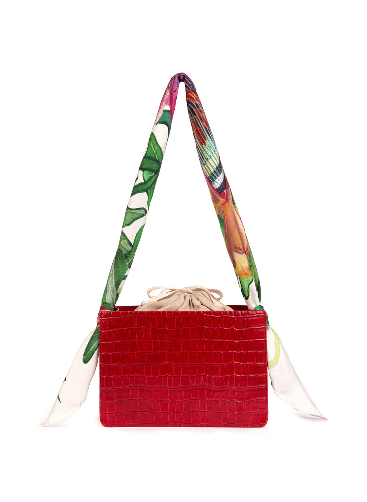 Berry Croc Guaria with Scarf Handle
