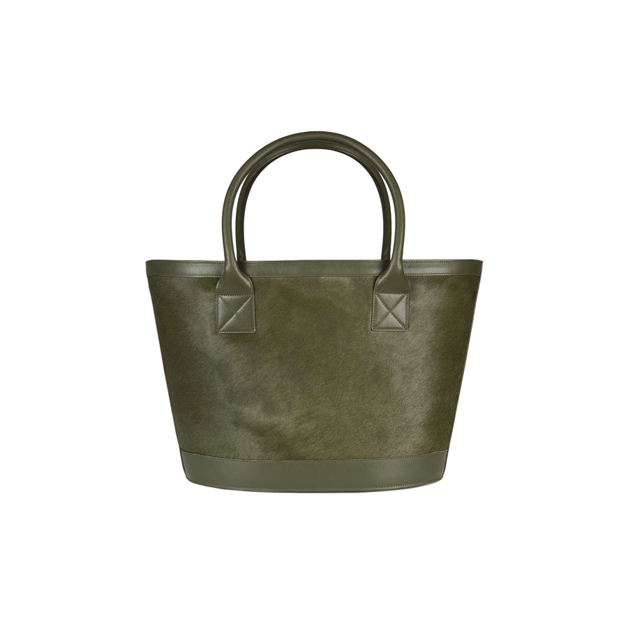 Picnic Tote in Green Calf Hair and Montunas