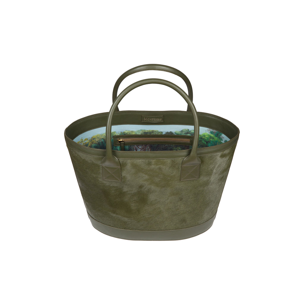 Picnic Tote in Green Calf Hair