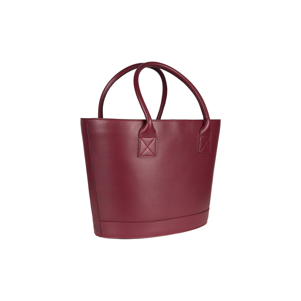 Picnic Tote in Pebbled Burgundy with Montunas Rainforest Lining