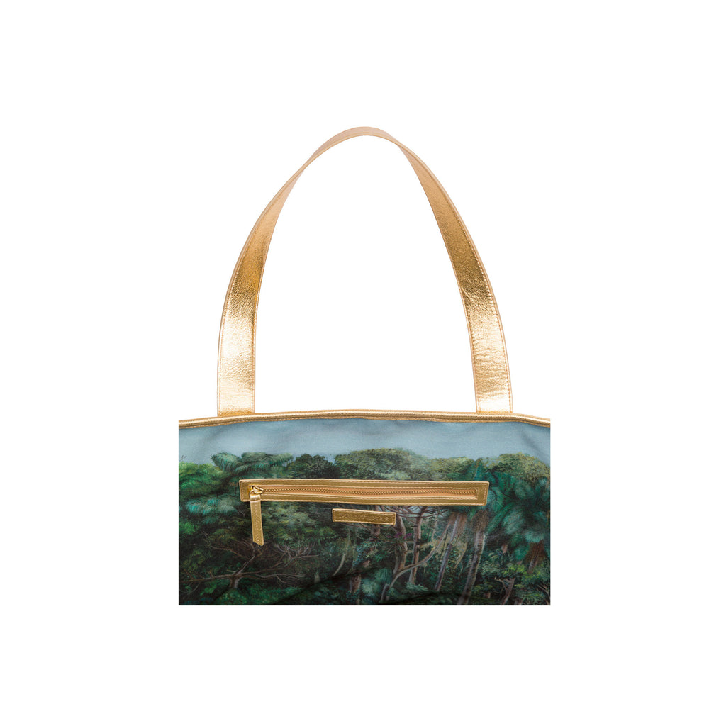 Large Tote in Gold with Montunas Rainforest Lining