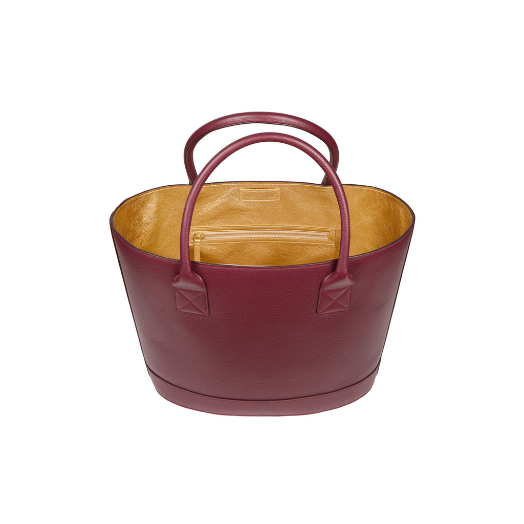 Picnic Tote in Pebbled Burgundy with Gold Leather Lining