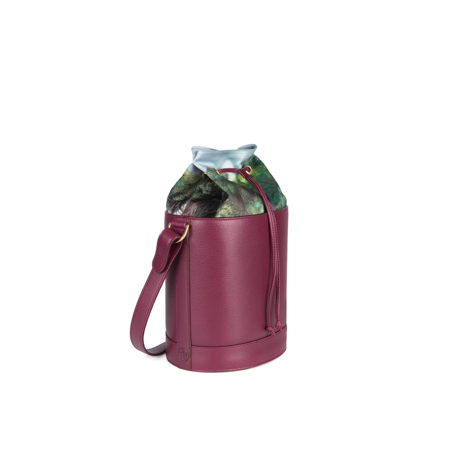 Bucket Bag in Pebbled Burgundy with Gold Leather Lining