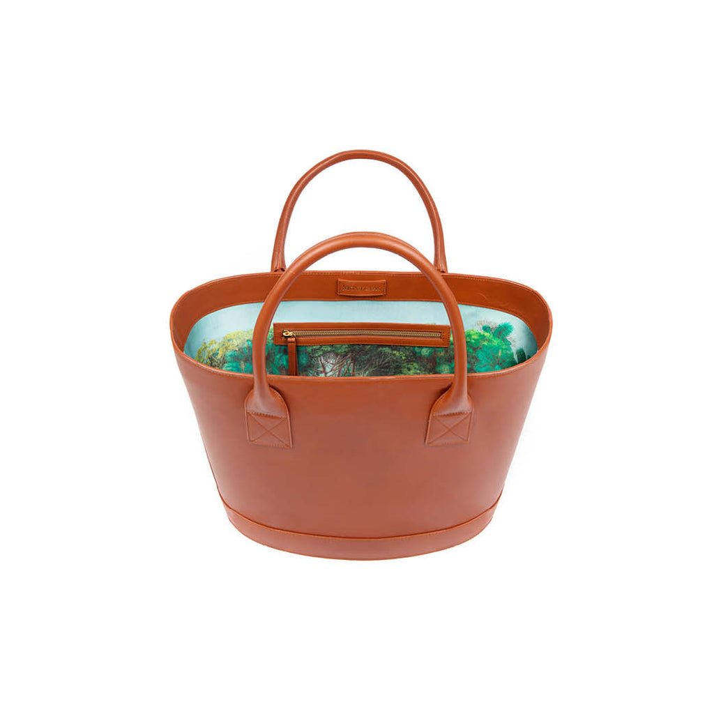 Classic Picnic Tote in Cognac with Montunas Rainforest Lining