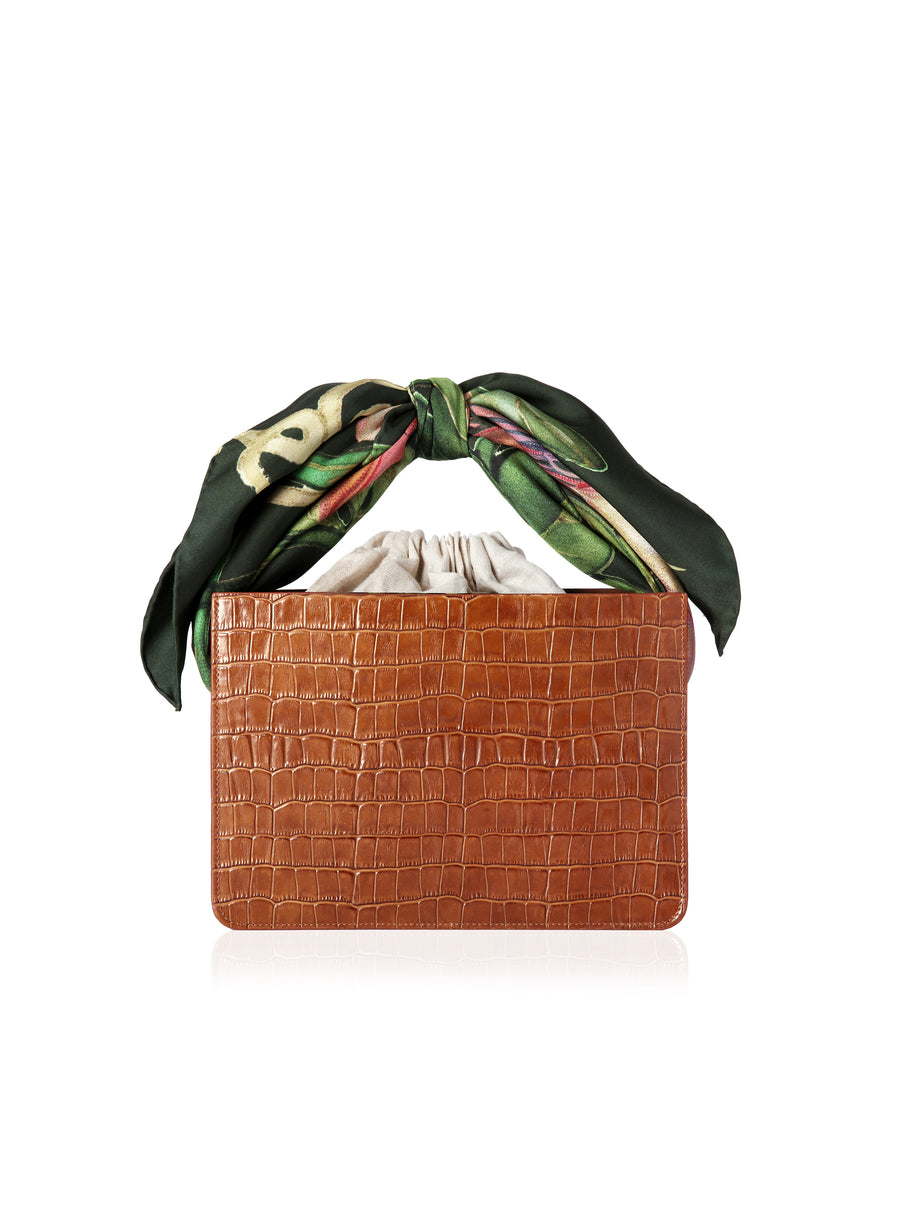 Cognac Croc Guaria with Scarf Handle