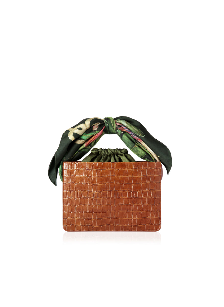 Cognac Croc Mini Guaria with Scarf Handle