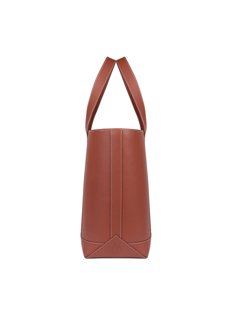 Large Tote in Cognac and Linen