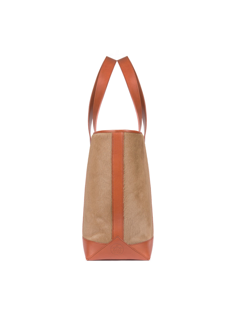 Large Tote in Tan Calf Hair